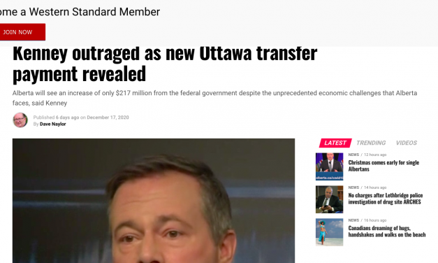 Kenney outraged as new Ottawa transfer payment revealed