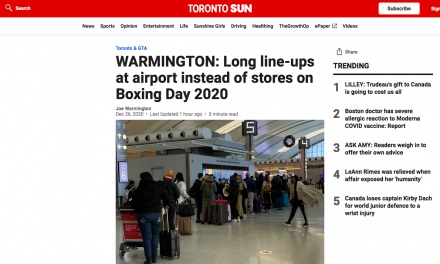 Long line-ups at airport instead of stores on Boxing Day 2020
