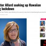 UCP minister Tracy Allard soaking up Hawaiian sun during lockdown