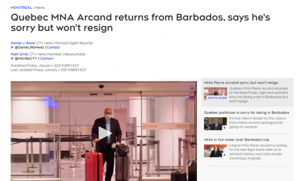 """Quebec MNA """"Pierre Arcand"""" returns from Barbados, says he's sorry but won't resign"""