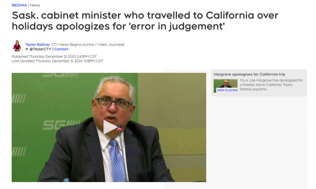 """Sask. cabinet minister """"Joe Hargrave"""" who travelled to California over holidays apologizes for 'error in judgement'"""
