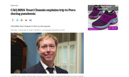 CAQ MNA Youri Chassin explains trip to Peru during pandemic