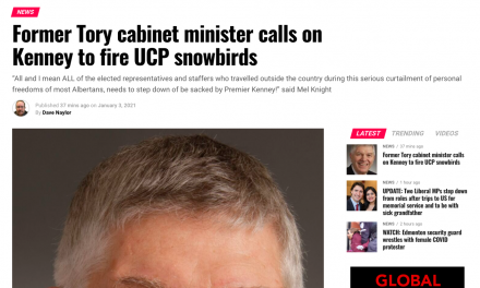 Former Tory cabinet minister calls on Kenney to fire UCP snowbirds