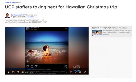 "2 more UCP staffers ""Michael Forian"" & ""Eliza Snider"" Both press secretaries taking heat for Hawaiian Christmas trip"