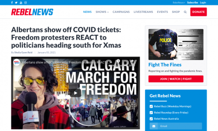 WATCH: Albertans show off COVID tickets: Freedom protesters REACT to politicians heading south for Xmas