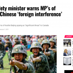 Public Safety minister warns MP's of extensive Chinese 'foreign interference' program