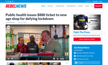 WATCH: Public health issues $880 ticket to new age shop for defying lockdown