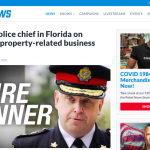 """Ontario police chief """"Stephen Tanner"""" in Florida on """"personal property-related business matters"""""""