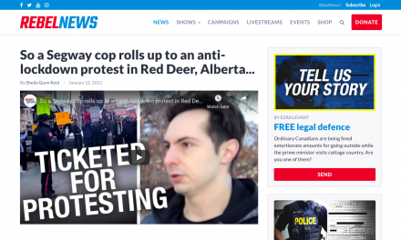 WATCH: Segway cop rolls up to an anti-lockdown protest in Red Deer, Alberta