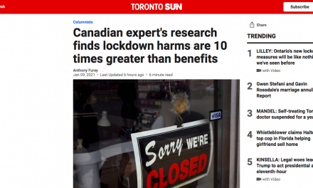 Canadian expert's research finds lockdown harms are 10 times greater than benefits