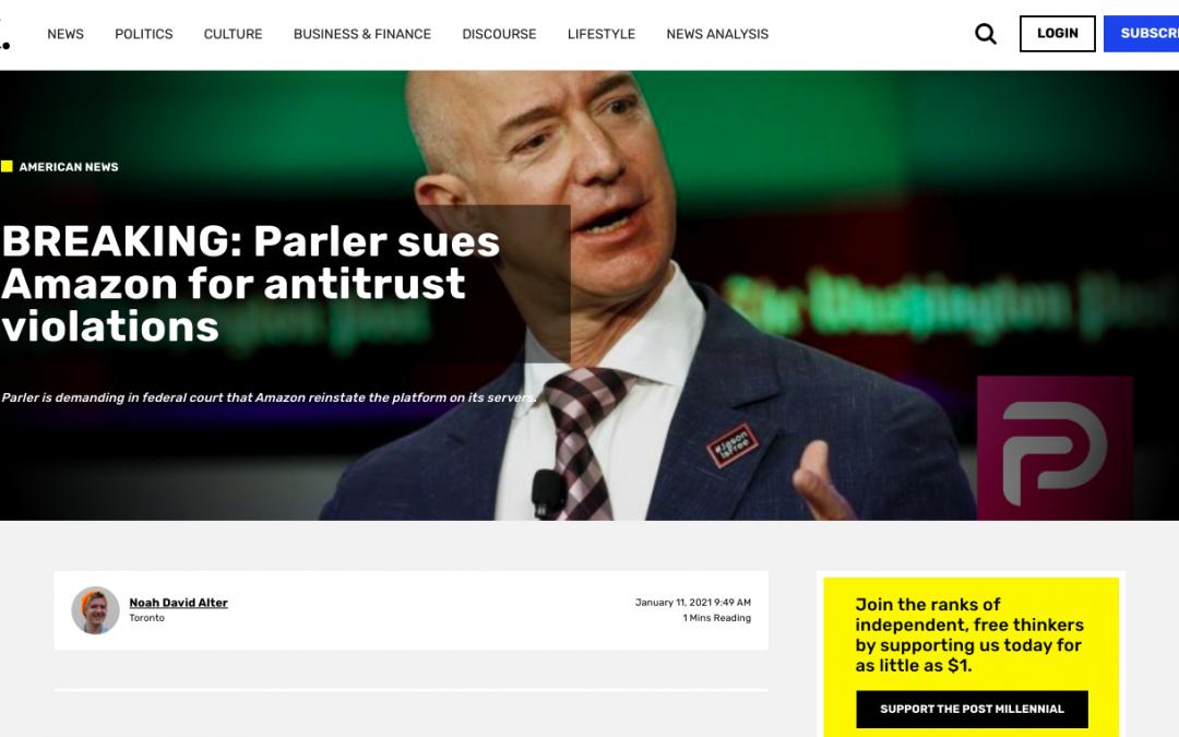 Parler sues Amazon for antitrust violations
