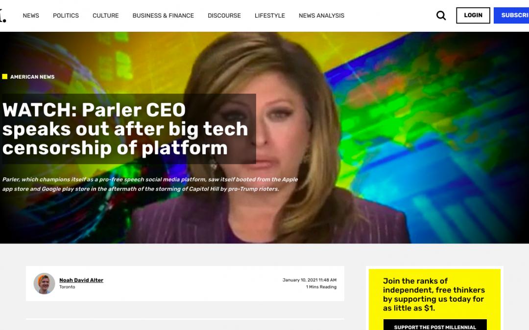 WATCH: Parler CEO speaks out after big tech censorship of platform