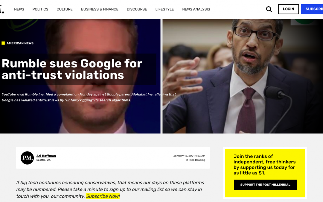 Rumble sues Google for anti-trust violations