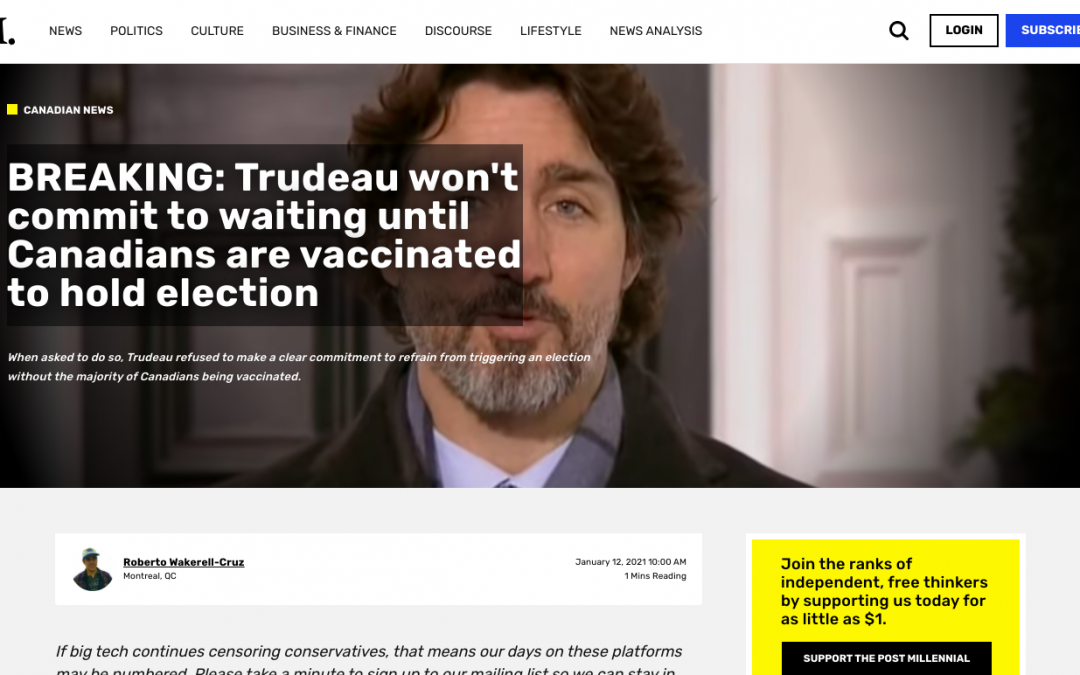 Trudeau won't commit to waiting until Canadians are vaccinated to hold election