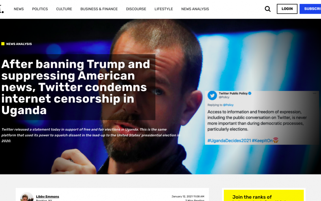 After banning Trump and suppressing American news, Twitter condemns internet censorship in Uganda