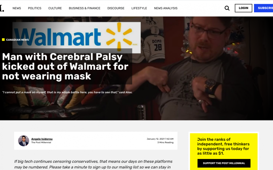 WATCH: Man with Cerebral Palsy kicked out of Dauphin Walmart for not wearing mask by Asst Mgr named Duane