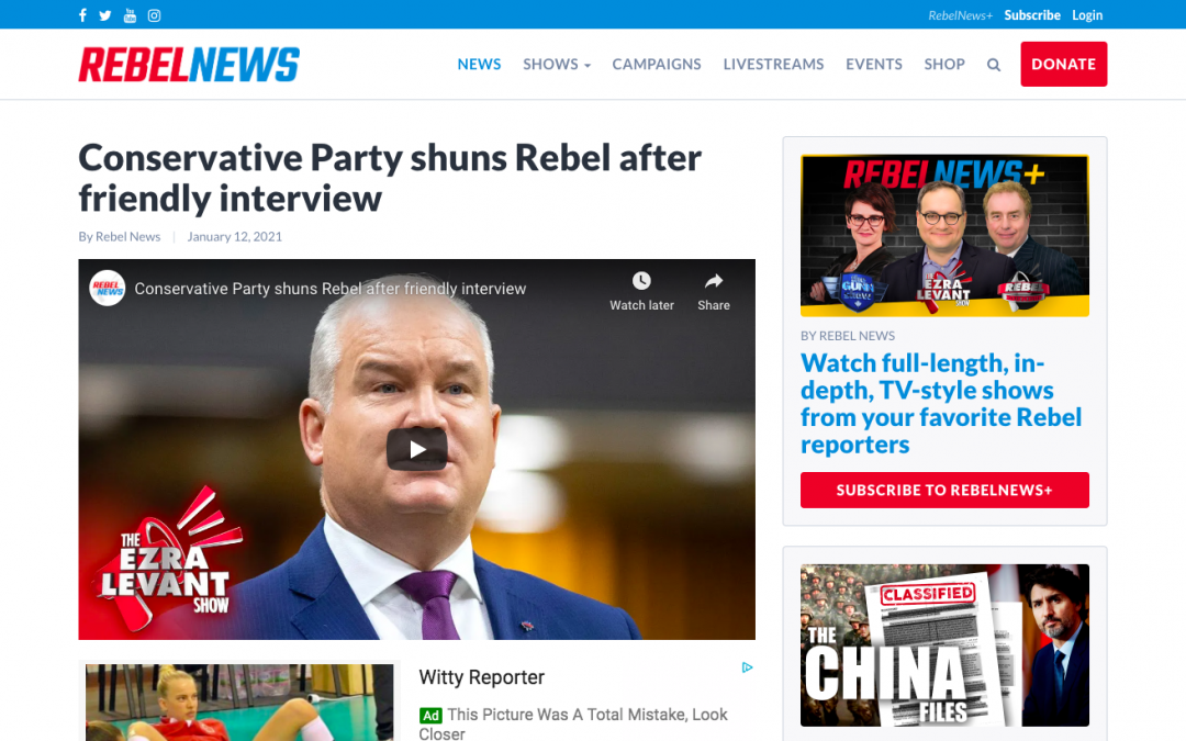 WATCH: Conservative Party shuns Rebel after friendly interview