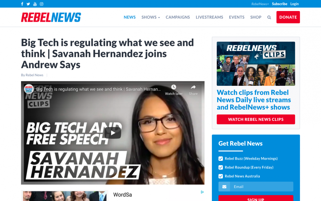 WATCH: Big Tech is regulating what we see and think   Savanah Hernandez joins Andrew Says