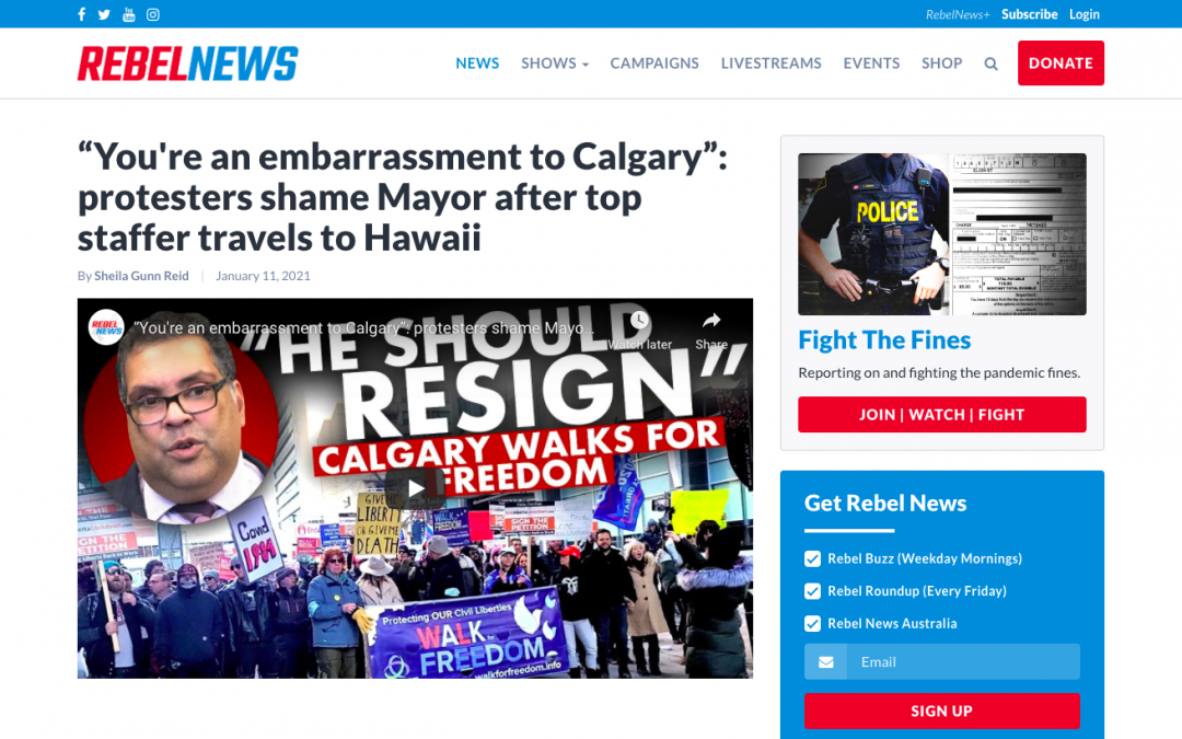 """WATCH: """"You're an embarrassment to Calgary"""": protesters shame Mayor NAHEED NENSHI after top staffer travels to Hawaii"""