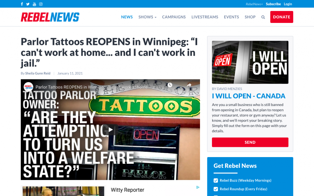 """WATCH: Parlor Tattoos REOPENS in Winnipeg: """"I can't work at home… and I can't work in jail."""""""