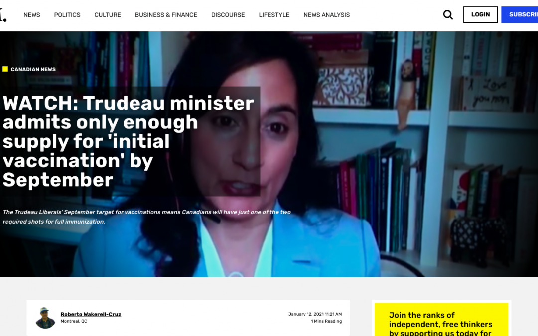 WATCH: Trudeau minister admits only enough supply for 'initial vaccination' by September