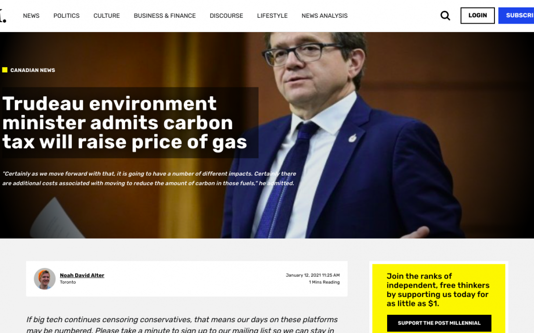 """Trudeau environment minister """"JONATHAN WILKINSON"""" admits carbon tax will raise price of gas"""