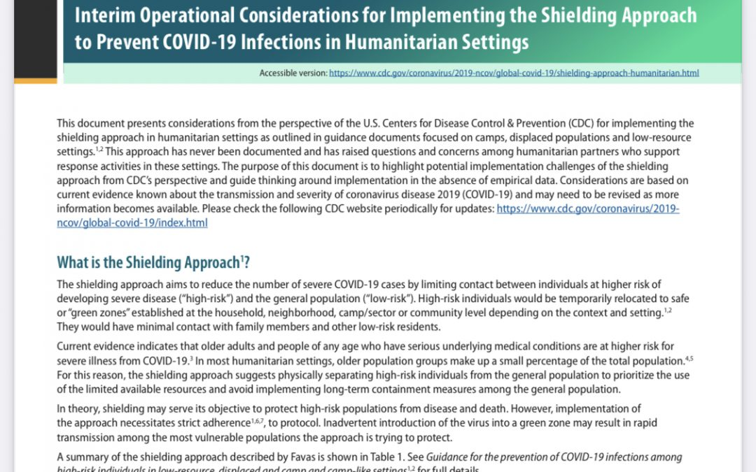 Interim Operational Considerations for Implementing the Shielding Approach to Prevent COVID-19 Infections in Humanitarian Settings