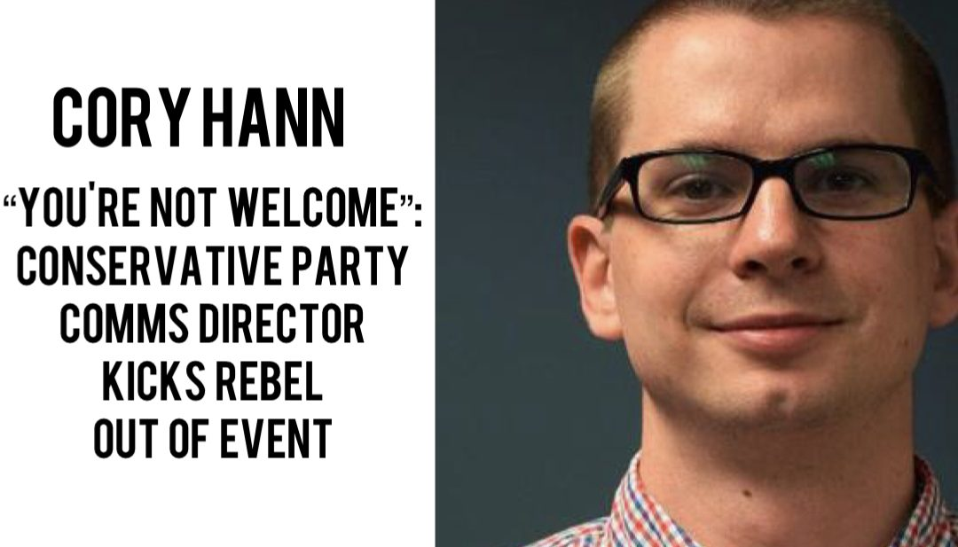 Cory Hann, communications director for the Conservative Party of Canada, kicked Alexa Lavoie out of an event hosted by the party of Quebec.